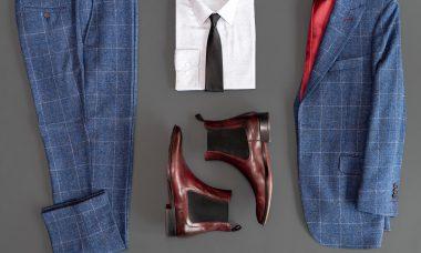 chemise pantalon chaussures en cuir